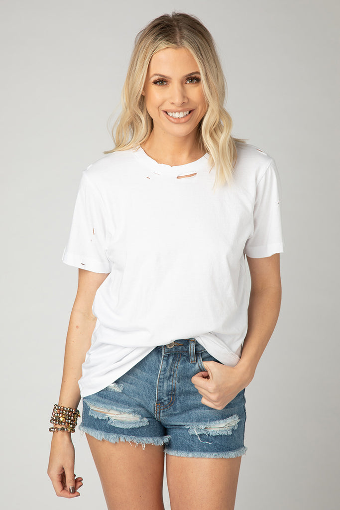 BuddyLove Cam Distressed Tee - White,S / White / Solids