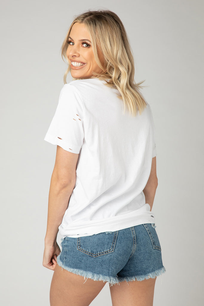 BuddyLove Cam Distressed Tee - White