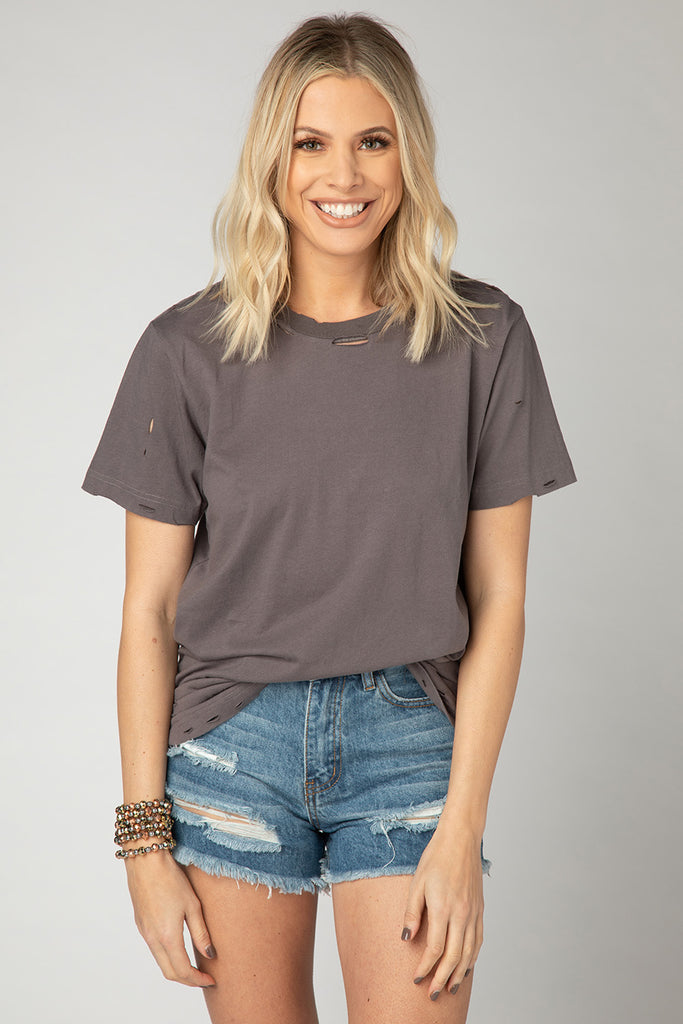BuddyLove Russel Distressed Tee - Charcoal,S / Grey / Solids