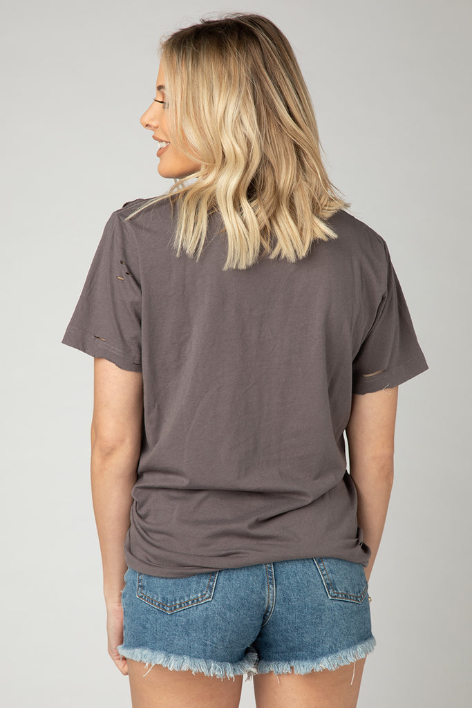 BuddyLove Russel Distressed Tee - Charcoal