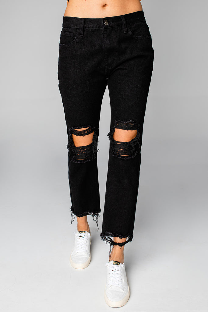 BuddyLove Rosco High-Waisted Distressed Boyfriend Jeans - Black,24 / Black / Solids
