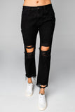 BuddyLove Rosco High-Waisted Distressed Boyfriend Jeans - Black