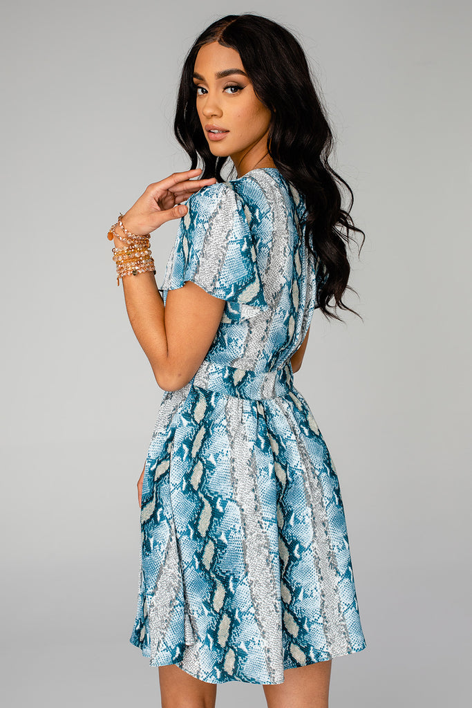 BuddyLove Alba Ruffled Sleeve Short Dress - Aquamarine