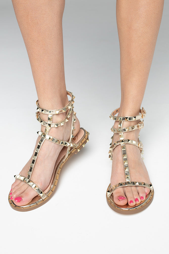 Santorini Studded Sandals - Gold,36 / Gold