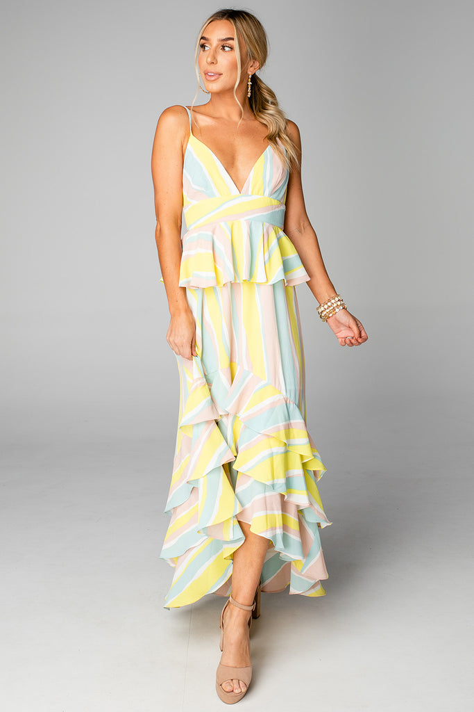 BuddyLove Georgia Ruffled Tiered Sleevesless High-Low Dress - Lemonade