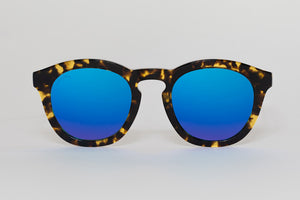 Women's Tortoiseshell Mirrored Blue Sunglasses
