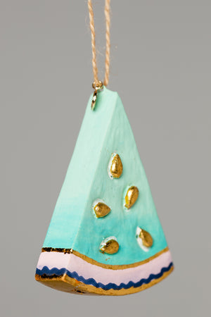 Small Watermelon Ornament - Teal