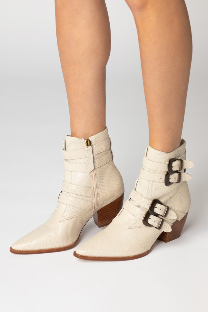Harvey Leather Booties - White
