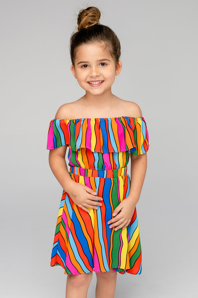 BuddyLove Ainsley Girl's Top and Skirt Set - Rainbow Bright