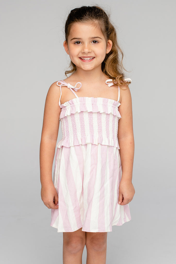 BuddyLove Vivienne Girl's Mini Dress - Pink Stripe