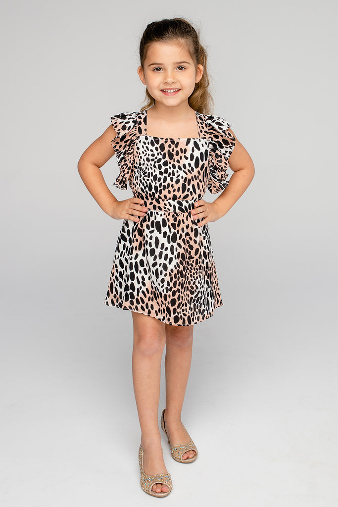 BuddyLove Kids Shiloh Flutter Sleeve Dress - Cheetah