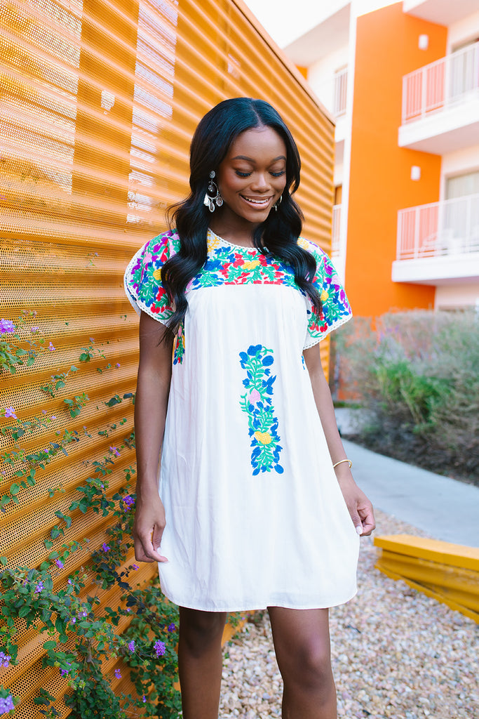 BuddyLove Short Sleeve Embroidered White Dress