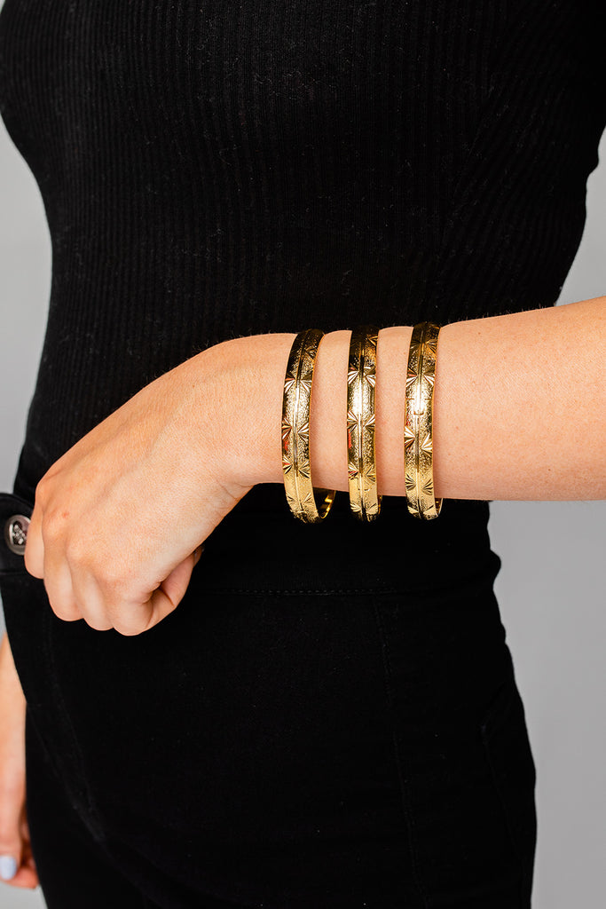 Bracha Stardust Bangles (Set of 3) - Gold