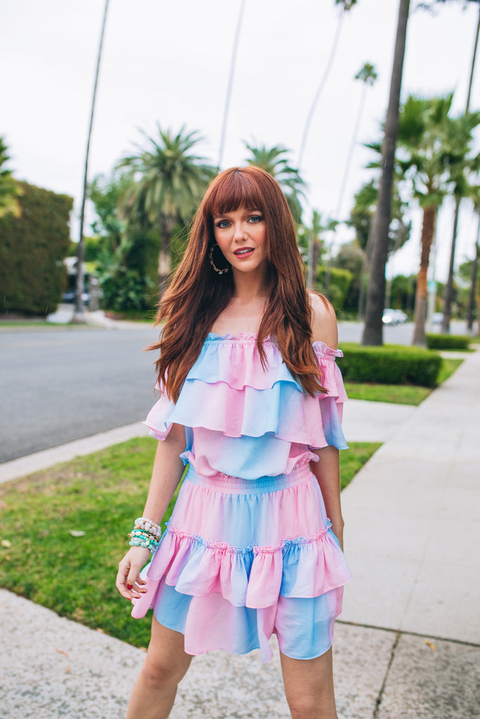 BuddyLove Kiera Ruffled Off the Shoulder Mini Dress - Cotton Candy