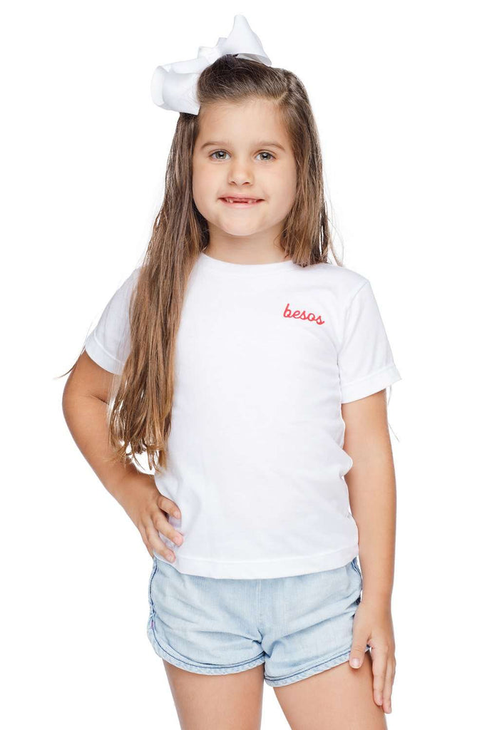 BuddyLove Symone Scooped Neck Cotton Kids Graphic Tee - Besos,2T / White