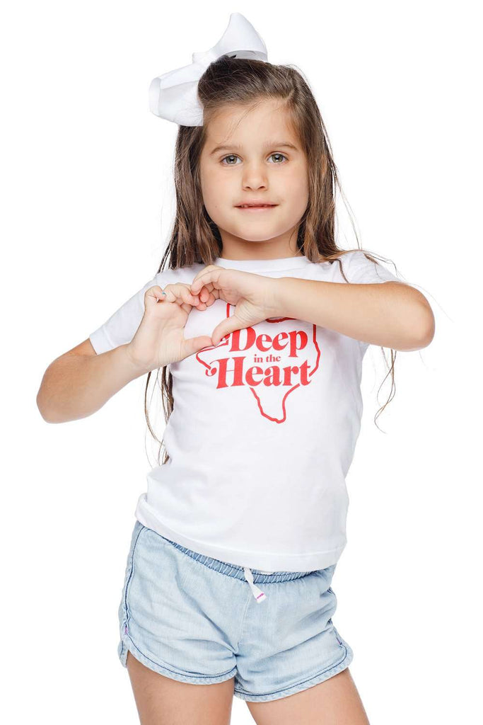BuddyLove Raven Scooped Neck Cotton Kids Graphic Tee - Deep in the Heart