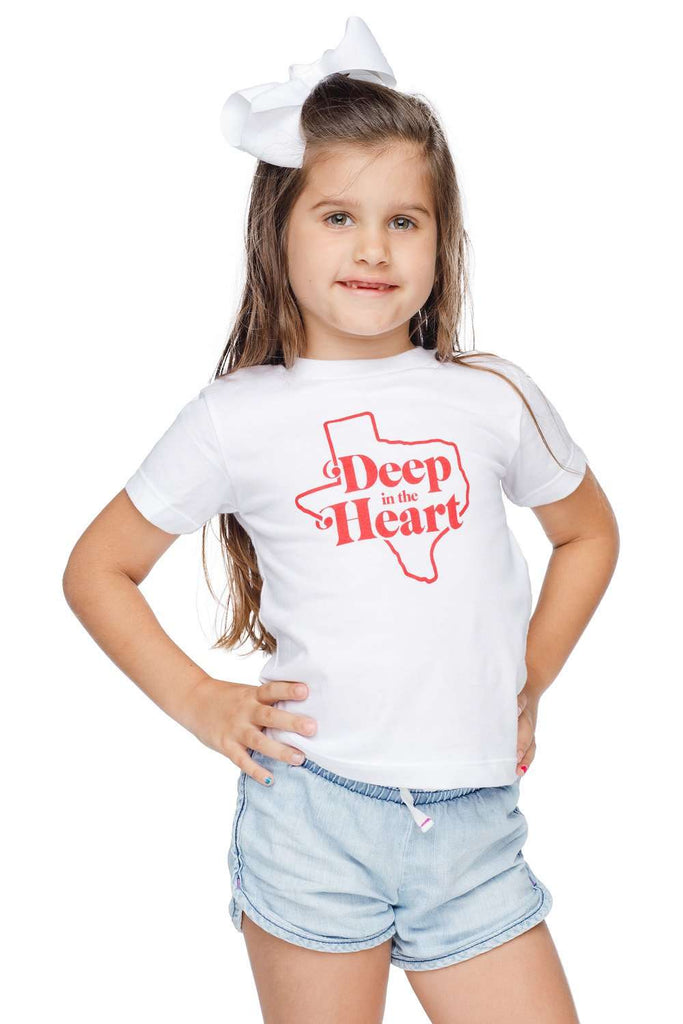 BuddyLove Raven Scooped Neck Cotton Kids Graphic Tee - Deep in the Heart,2T / White