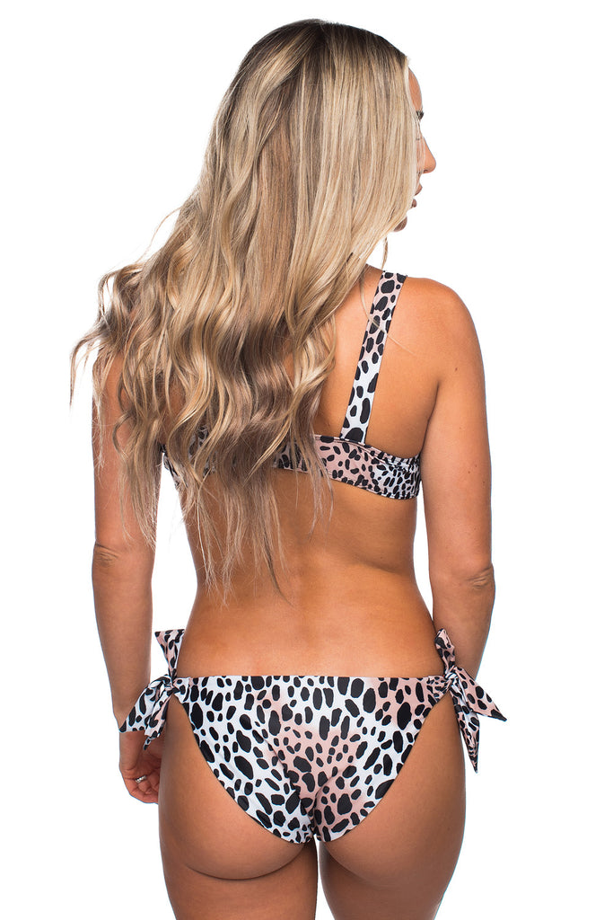 BuddyLove Adriana Tie Front Top High Waisted Bikini - Cheetah