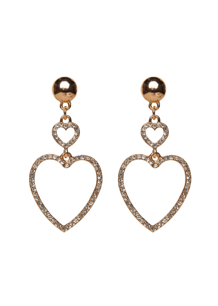 BuddyLove Alexandria Drop Heart Earrings - Gold