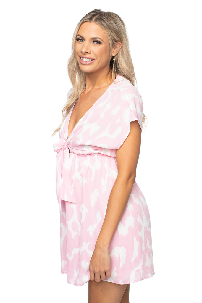 BuddyLove Amy Elastic Waist Babydoll Dress - Abstract Pink