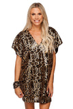 BuddyLove Aretha Sequined Mini Dress - Brown Gold Leopard Print