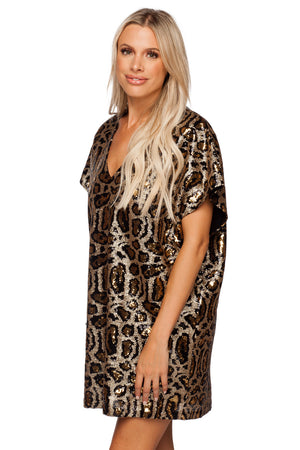 BuddyLove Aretha Sequined Mini Dress - Brown