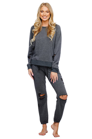 BuddyLove Denise Distressed Long Sleeve Lounge Sweater - Charcoal - Buddy Love Clothing Label