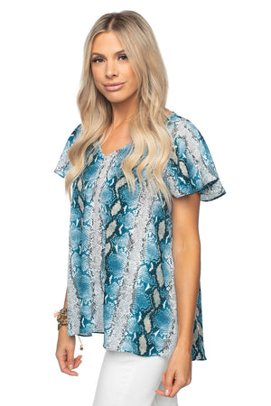 BuddyLove Avril Flutter Sleeve V-Neck Top - Aquamarine
