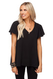 BuddyLove Avril Flutter Sleeve V-Neck Top - Black