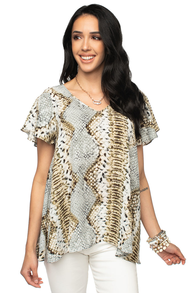 BuddyLove Avril Flutter Sleeve V-Neck Top - Copper,XS / Grey / Snake Skin