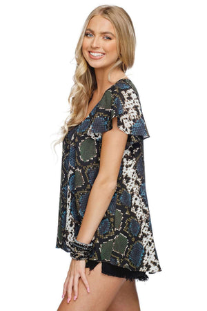 BuddyLove Avril Flutter Sleeved Top - Everglade - Buddy Love Clothing Label