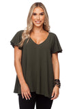 BuddyLove Avril Flutter Sleeve V-Neck Top - Olive