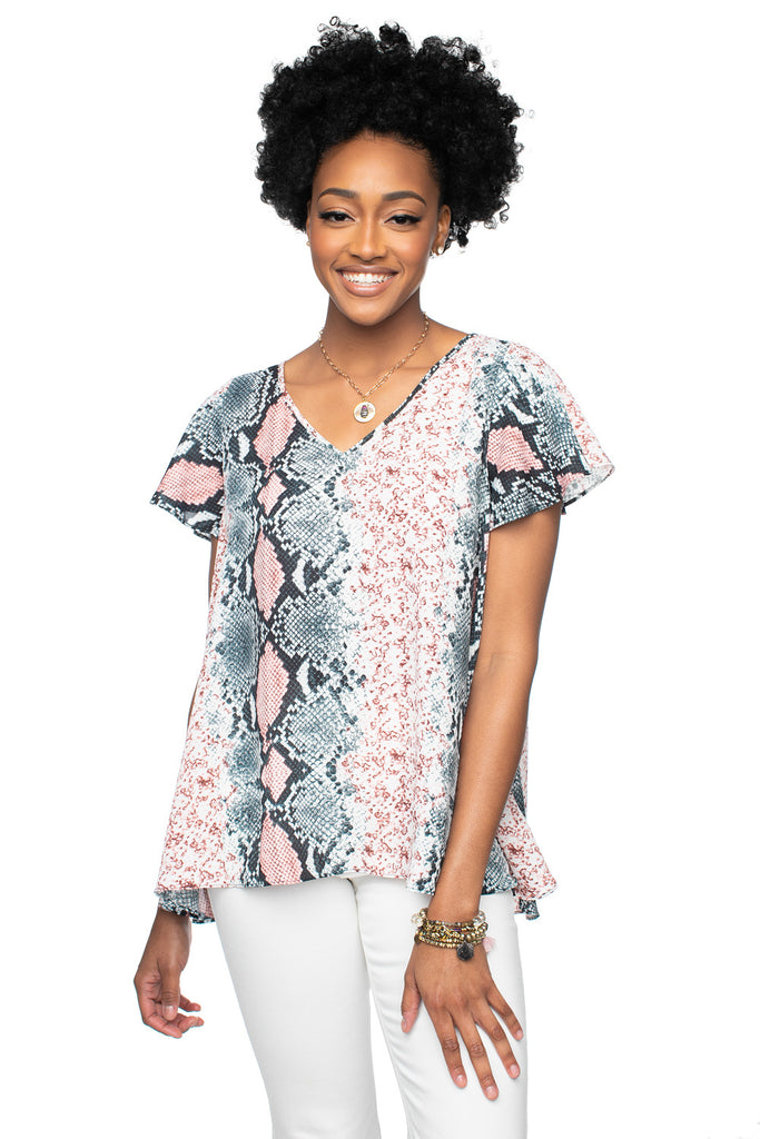 BuddyLove Avril Flutter Sleeve V-Neck Top - Serpent,XS / Pink / Snake Skin