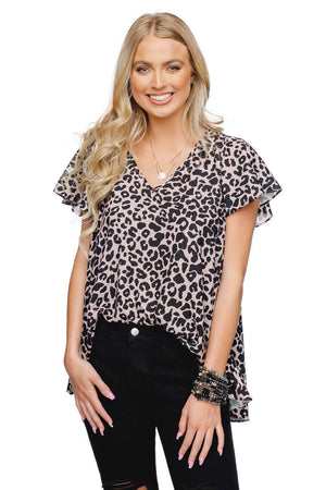 BuddyLove Avril Fluttered Sleeved Top - Tanimal - Buddy Love Clothing Label