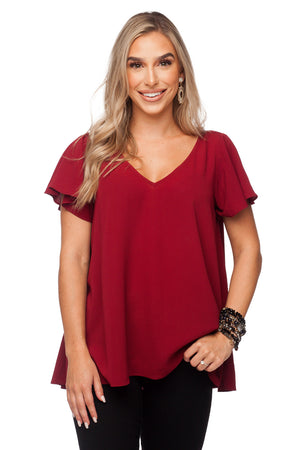 BuddyLove Avril Flutter Sleeve V-Neck Top - Wine