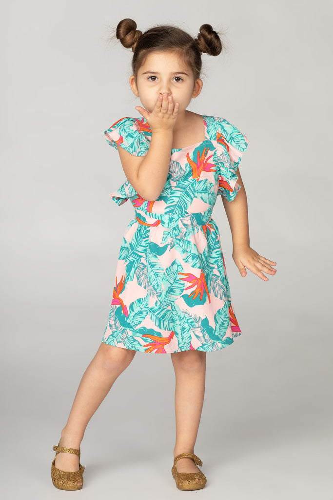 BuddyLove Kids Shiloh Flutter Sleeve Dress - Hibiscus