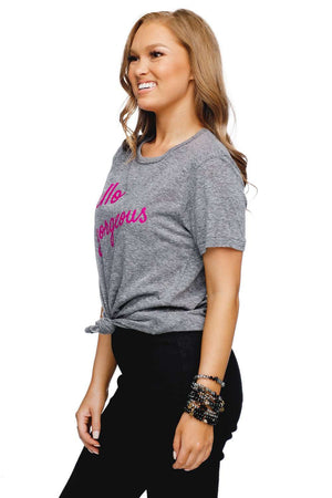 BuddyLove Brandon Heathered Grey Cotton Graphic Tee - Hello Gorgeous - Buddy Love Clothing Label