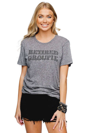 BuddyLove Brandon Heathered Grey Cotton Graphic Tee - Retired Groupie - Buddy Love Clothing Label