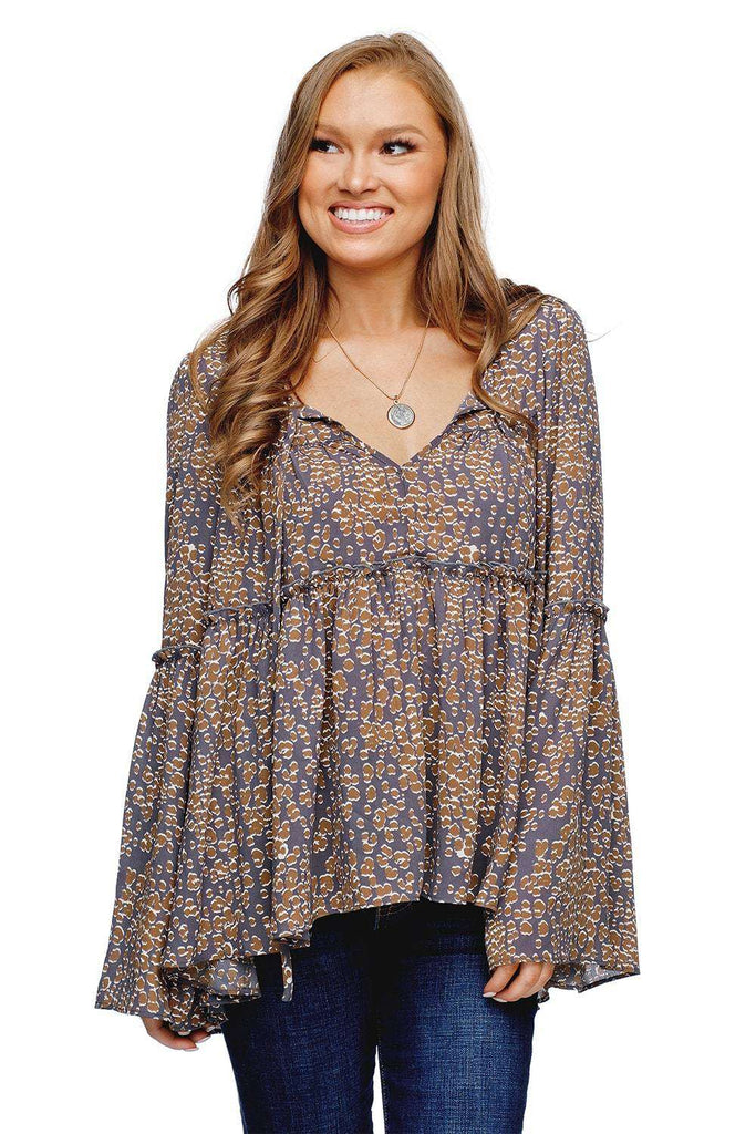BuddyLove Jasper Tiered Lace Up Ruffled Bell Sleeve Top - Moss - Buddy Love Clothing Label