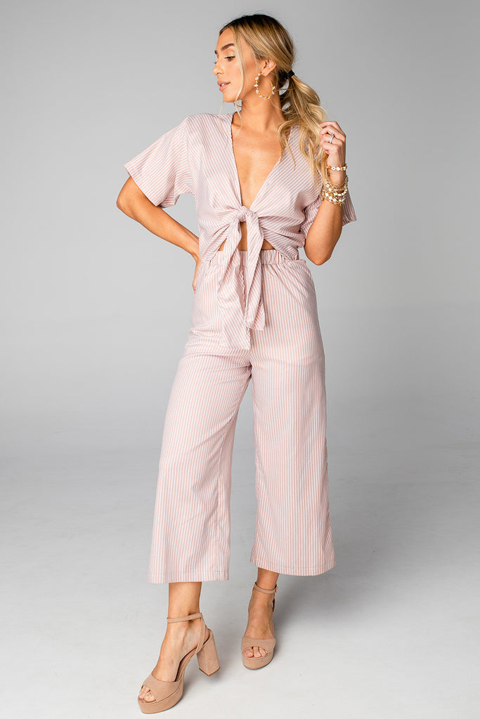 BuddyLove Ilene Cut Out Tie Front Jumpsuit - Tan Stripe