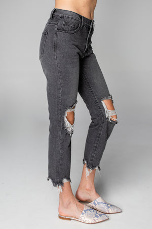 BuddyLove Rosco High-Waisted Distressed Boyfriend Jeans - Grey
