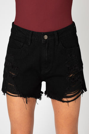 BuddyLove Sheriff Distressed High-Waisted Denim Shorts - Black
