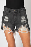 BuddyLove Sheriff Distressed High-Waisted Denim Shorts - Grey