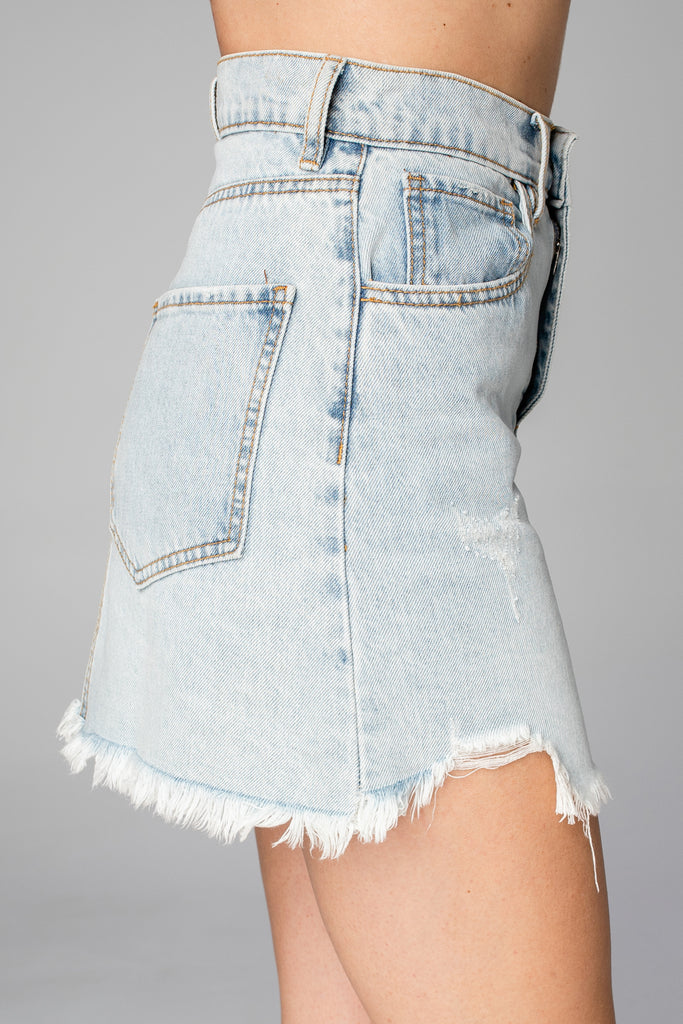 BuddyLove Sharon Distressed Denim Mini Skirt - Light Wash
