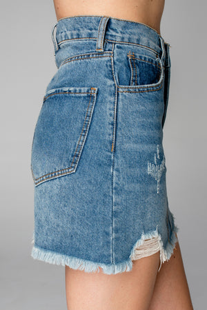 BuddyLove Sharon Distressed Denim Mini Skirt - Medium Wash