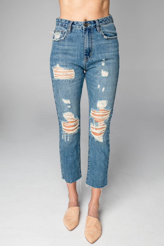BuddyLove Ryan Distressed Skinny Jeans - Medium Wash
