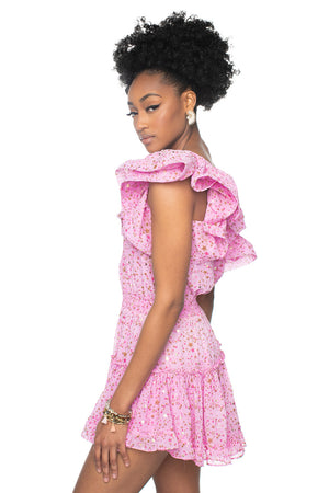 Pink One Shoulder Ruffled Cocktail Dress