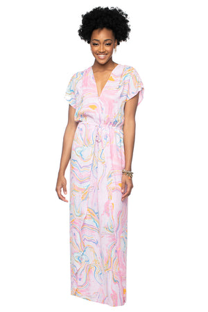 BuddyLove Natalie Short Sleeved Maxi Dress - Glass,XS / Pink / Abstract