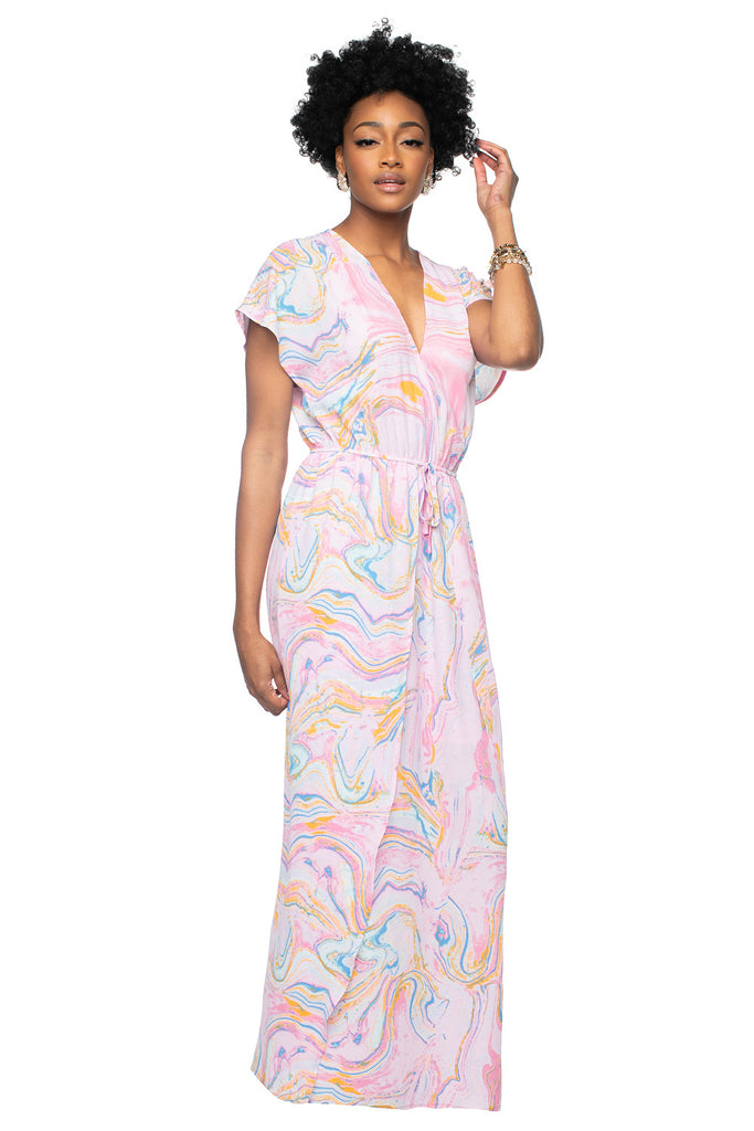 Short Sleeve Elastic Waist Maxi Dress