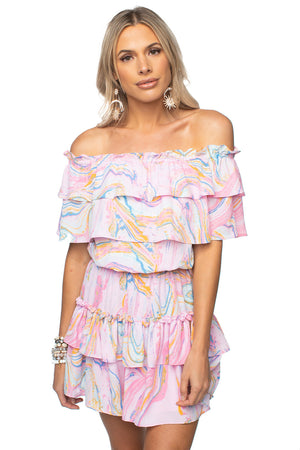 Off the Shoulder Ruffled Mini Dress